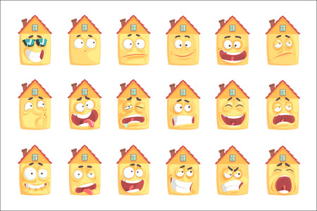 Cute cartoon humanized house with with many expressions set of vector Illustrations isolated on white background Standard-Bild - 110490165