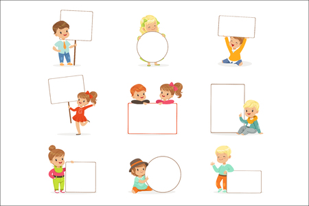 Cute kids holding white blank boards in different poses set. Smiling little boys and girls in casual clothes with empty posters vector illustrations isolated on a white background