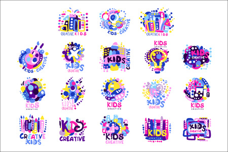 Kid creative set of colorful   graphic templates hand drawn vector Illustrations