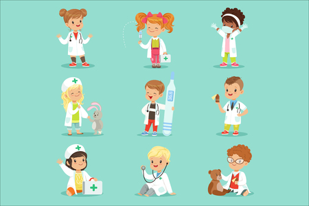 Adorable kids playing doctor set. Smiling little boys and girls dressed as doctors playing with toy medical equipment vector illustrations isolated on a light blue background