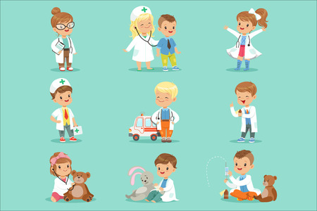 Cute kids playing doctor set. Smiling little boys and girls dressed as doctors examining and treating their patients vector illustrations Illustration