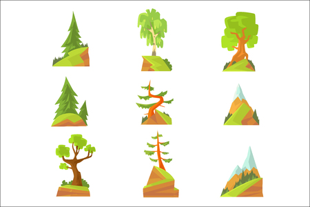 Coniferous and deciduous trees set. Natural landscape with various trees colorful vector Illustrations isolated on white background
