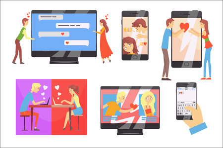 Acquaintance through the social network, distance relationship, online dating set of vector Illustrations on a white background