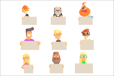 Different people holding blank boards set. Smiling cartoon men and women characters with empty banners vector illustrations isolated on a white background