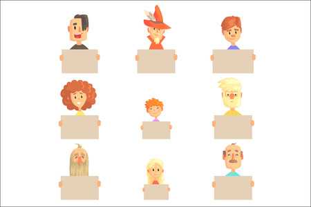 Smiling cartoon men, women and kids characters with empty banners set of colorful vector illustrations isolated on a white background Illustration