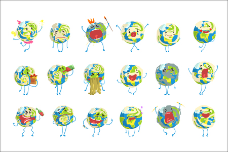 Cute funny world Earth emoji showing different emotions set of colorful characters vector Illustrations isolated on white background