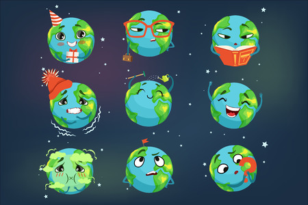 Cute funny world Earth emoji showing different emotions set of colorful characters vector Illustrations on a midnight blue background