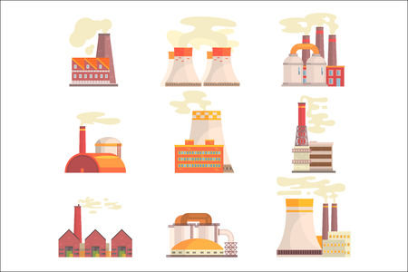 Industrial factory buildings set. Modern power plants colorful vector Illustrations isolated on white background Illustration