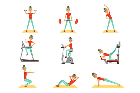 Beautiful woman exercising in the gym with sports equipment set of colorful vector Illustrations isolated on white background