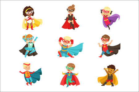 Superhero girls and boys set, kids in superhero costumes colorful vector Illustrations