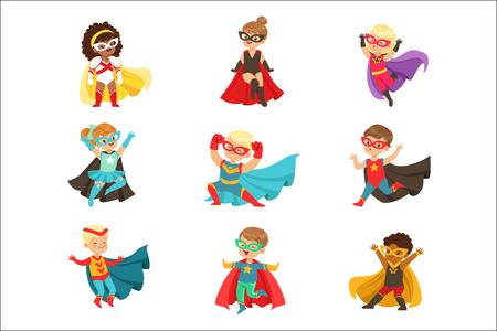 Superhero dziewczyny i chłopcy zestaw, dzieci w kostiumach superbohatera kolorowe ilustracje wektorowe