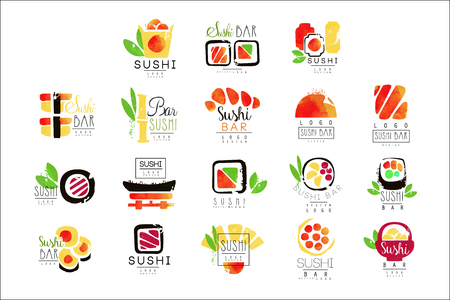 Sushi bar  design set of colorful watercolor vector Illustrations