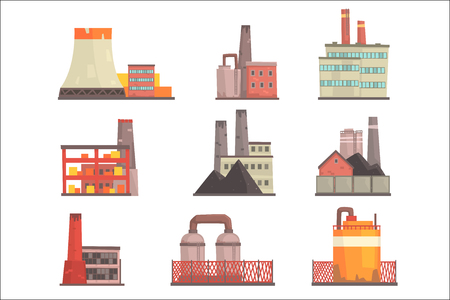 Industrial factory buildings set. Modern power plants, manufacture buildings colorful vector Illustrations isolated on white background