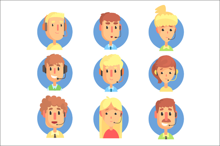 Cartoon male and female call centre operators with headset set, customer support service colorful vector illustrations isolated on a light blue background