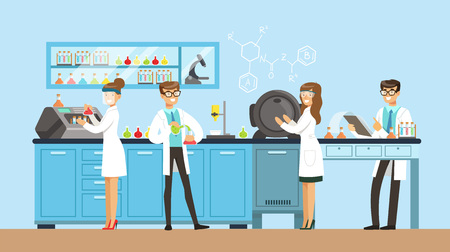 Scientists man and woman working in a lab, interior of science laboratory, vector Illustration in flat design
