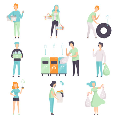 People gathering, sorting waste for recycling set, young men and women collecting plastic, glass, rubber, paper, organic waste to protect the environment vector Illustrations isolated on a white background. Vettoriali