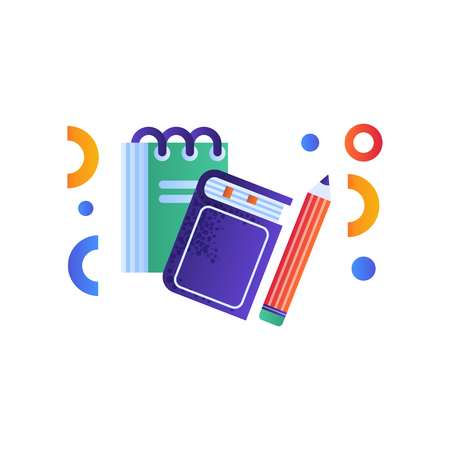 Book, notebook and pencil education concept, school supplies vector Illustration isolated on a white background.