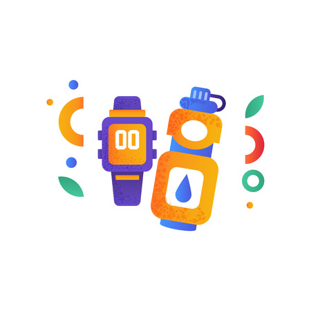 Smart watch and warwe bottle, sport accessories, fitness, healthy lifestyle concept vector Illustration isolated on a white background.