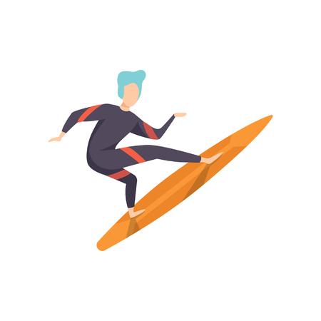 Mec de surfeur en maillot de bain chevauchant une planche de surf, jeune homme profitant des vacances d'été sur la mer ou l'océan vector Illustration isolé sur fond blanc.