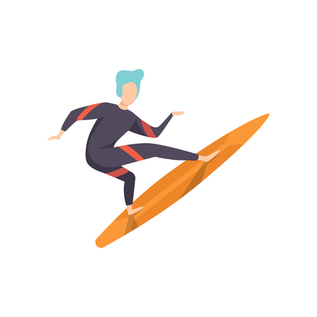 Surfer guy in swimwear riding a surfboard, young man enjoying summer vacation on the sea or ocean vector Illustration isolated on a white background.
