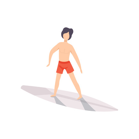 Surfer guy riding a surfboard, young man enjoying summer vacation on the sea or ocean vector Illustration isolated on a white background.