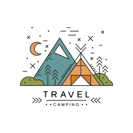 Travel camping design, adventure, alpinism, mountaineering and outdoor activity vector Illustration