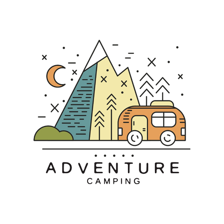 Adventure camping design, tourism, hiking, alpinism, mountaineering and outdoor activity emblem vector Illustration
