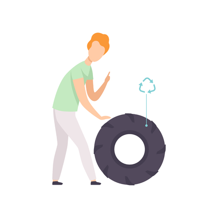 Young man with used rubber tire, people gathering, sorting garbage for recycling vector Illustration isolated on a white background.