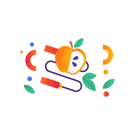 Skipping rope and apple, healthy lifestyle, sport, fitness, vegan food symbols vector Illustration isolated on a white background.