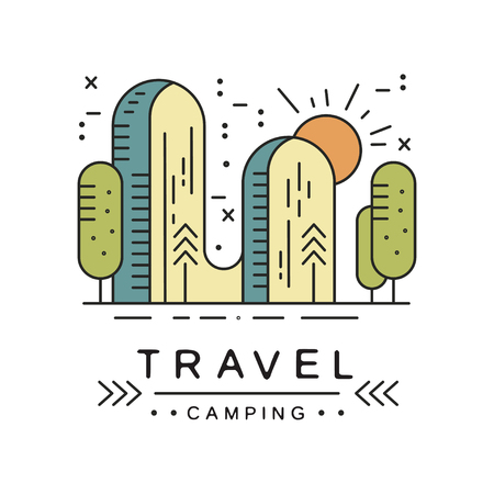 Camping travel design, adventure, camping, alpinism, mountaineering and outdoor activity emblem vector Illustratio