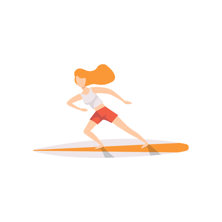 Young woman on a surfboard, surfer girl character riding waves vector Illustration isolated on a white background. Illustration