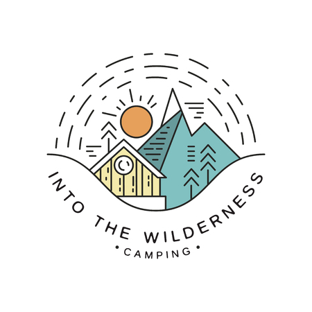 Camping into the wilderness design, travel, adventure, alpinism, mountaineering and outdoor activity emblem vector Illustration