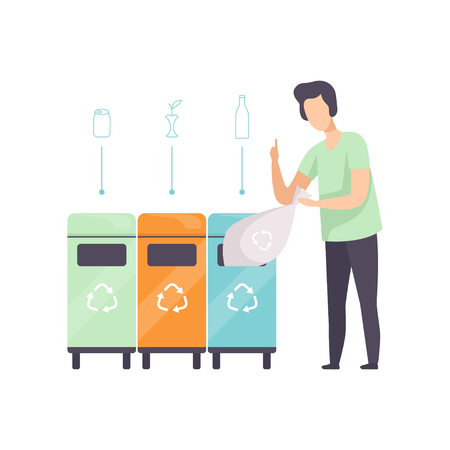 Man standing near garbage containers with waste for glass, organic, aluminum, people gathering, sorting garbage for recycling vector Illustration isolated on a white background.