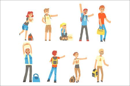 Jeunes debout avec un panneau faisant de l'auto-stop et levant le pouce vers le haut, voyageant par vecteur de dessin animé autostop Illustrations sur fond blanc