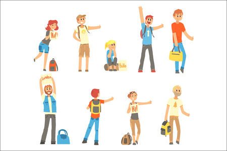 Young people standing with a sign hitchhiking and raised their thumb up set, travelling by autostop cartoon vector Illustrations on a white background