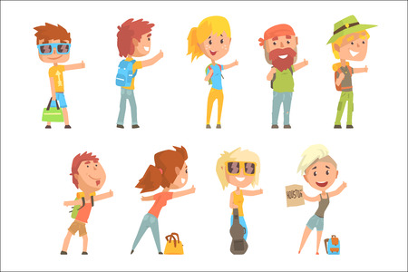 Young tourist people wearing comfy travel outfit standing with a sign hitchhiking, travelling by autostop cartoon vector Illustrations on a white background Illustration