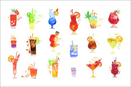 Cocktails set, summer drinks watercolor vector Illustrations on a white background Standard-Bild - 110408177