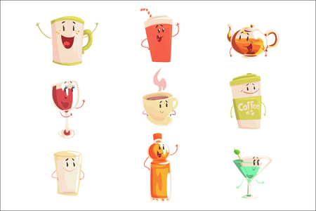 Funny cup, bottle, glass with drinks standing and smiling, set for label design. Various non alcoholic drinks. Cartoon detailed Illustrations isolated on white background