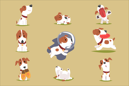 Cute little puppy in his evereday activity set, dogs daily routine funny colorful character vector Illustrations 向量圖像