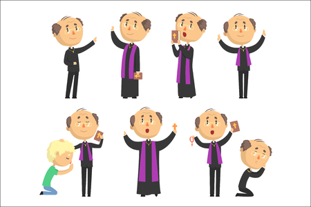 Cartoon catholic priest reading prayer, blessing parishioners, holding Cross, Bible and Gospel set of vector Illustrations Vectores