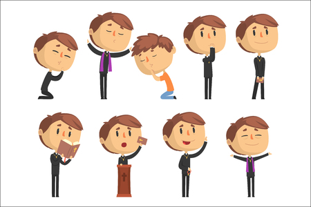 Young cartoon catholic priest reading prayer, blessing parishioners, holding Cross, Bible and Gospel set of vector Illustrations