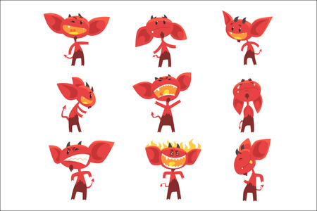 Funny red devil cartoon characters with different emotions set of vector Illustrations isolated on white background