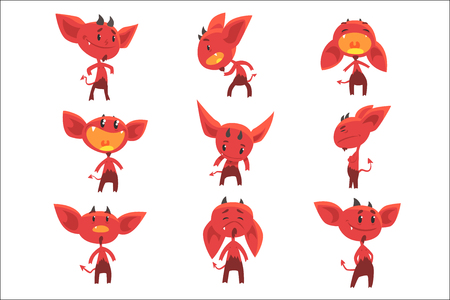 Cartoon funny red devil characters with different emotions set of vector Illustrations isolated on white background Иллюстрация