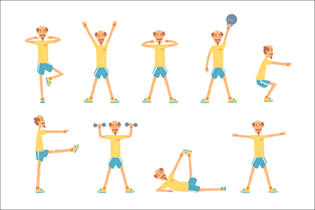Carattere dell'uomo anziano che si esercita insieme, pensionato di stile di vita attivo sano, illustrazioni di vettore di forma fisica dell'anziano su un background . bianco