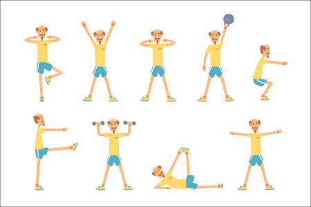 Conjunto de ejercicio de carácter de hombre mayor, jubilado de estilo de vida activo y saludable, ilustraciones de vectores de aptitud mayor sobre un fondo blanco