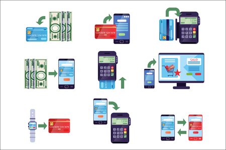 Payment methods in retail and online purchases, online payment concept vector Illustrations on a white background Vektoros illusztráció