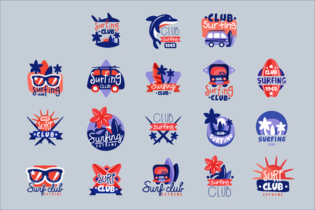 Surfing club  templates set, surf club emblem, windsurfing badge collection