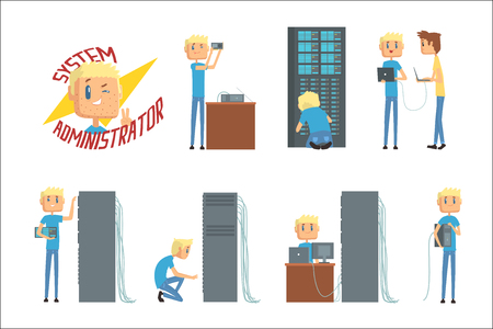 System administrator, network engineer characters, set of network diagnostics, users support and server maintenance cartoon vector Illustrations on a white background Vectores
