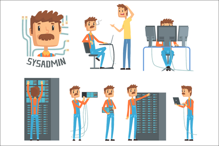 Sysadmin, network engineer characters, set of network diagnostics, users support and server maintenance cartoon vector Illustrations on a white background Ilustración de vector