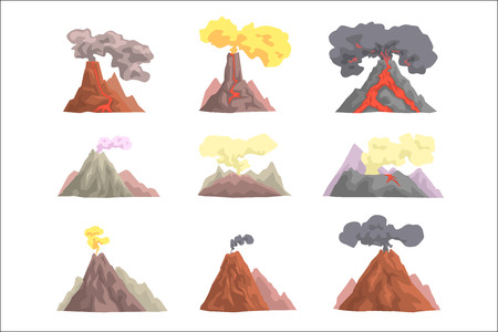 Volcano eruption set, volcanic magma blowing up, lava flowing down cartoon vector Illustrations on a white background Illustration